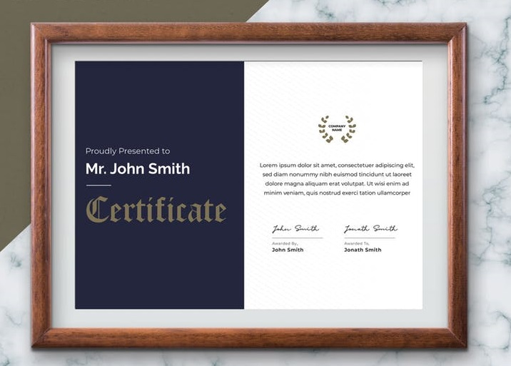 Certificate Photo Framing