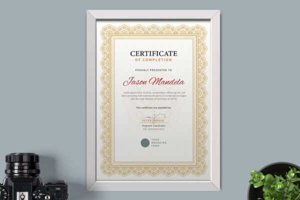 white frame for Certificate